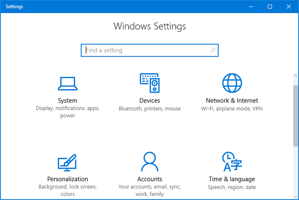 How to Open Windows Settings in Windows 10